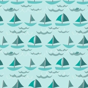 Simple Sailboats in Teal, Green, Blue