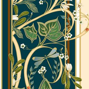 Royal Garden Stripes _ Deep Teal-Buttercream