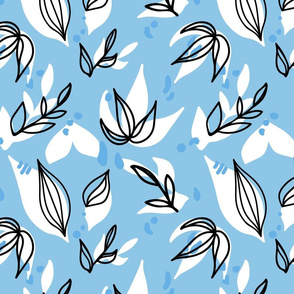 Abstract Floral in Carolina Blue