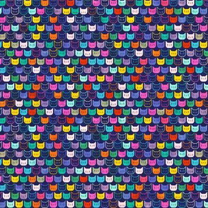 Rainbow Cats on Blue- Geometric Small Scale Cat- Micro- Face Mask