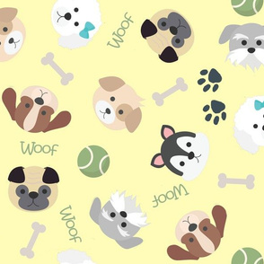 Dog Faces and Objects Seamless Pattern on Yellow