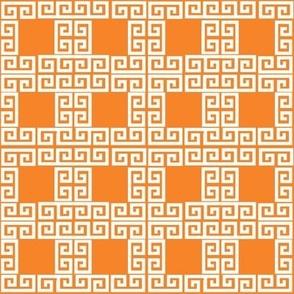greek key puzzle- orange and white