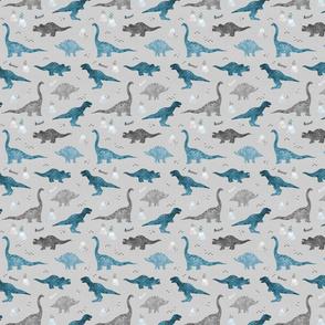 Watercolor Dino - blue - tiny