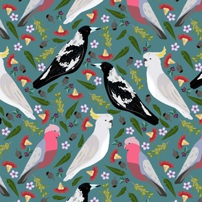 gallah magpie sulfur crested cockatoo flowers pattern