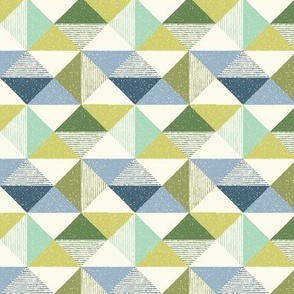 Textured Triangle Geo blue green 5x5 small scale