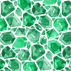 Watercolor Geometric Emerald Gemstones on white