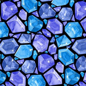 Neon Geometric Topaz, Sapphire, and Blue Beryl Crystals on Black