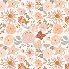 terra firma earth tone florals on cream - small
