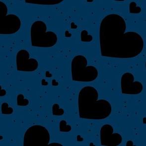 Diagonal hearts universe sweet valentine love print navy black