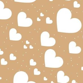 Diagonal hearts universe sweet valentine love print cinnamon brown yellow white