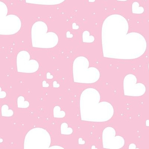 Diagonal hearts universe sweet valentine love print pink white