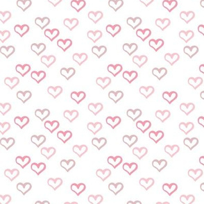 The minimalist hearts boho love sketched ink heart outline soft pink white girls