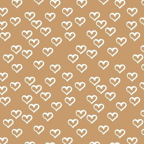 The minimalist hearts boho love sketched ink heart outline cinnamon brown yellow