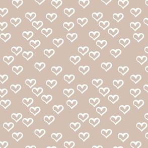 The minimalist hearts boho love sketched ink heart outline soft sand beige white