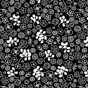 Little flower buds and boho leaves romantic liberty London style sweet botanical design monochrome black and white