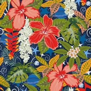 Celestial Hawaii- Tropical Garden in Space- Rainbow Navy Midnight- Large Scale