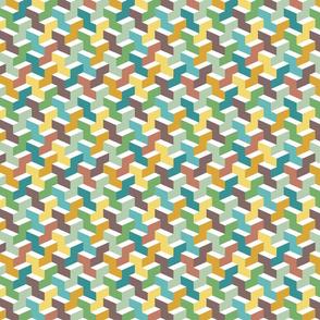 Small scale retro 3D colorful blocks Fabric