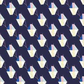 Small Geometric Kites on Midnight Blue