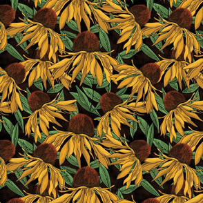 "12"" Black Eyed Susan Watercolor Pattern_Brown Blk"