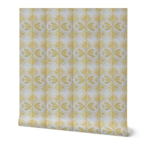 Yellow floral damask