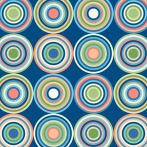 Geometric Bullseyes // Navy Blue, Sky Blue, Green, Coral, Peach, Ivory