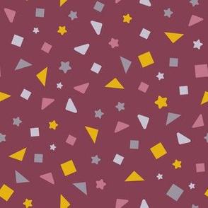 marigold geometrics on burgundy