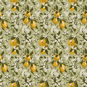 Bees & Lemons - Green- Small - Green Leaves - (colored corrected 5/21)