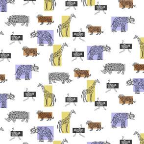 small scale polygonal safari animals