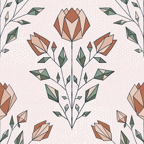 Textured Geometric Floral - pink and green - small scale