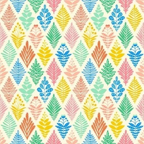 Geometric Rhombus Ikat Florals