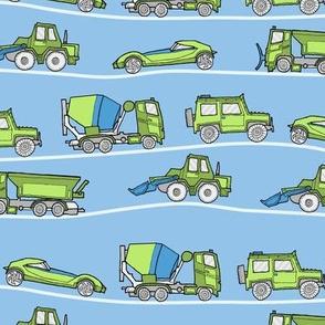 traffic jam - illustrated vehicles blue-green