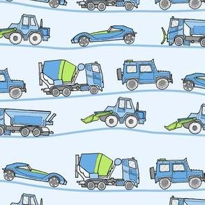 traffic jam - illustrated vehicles blue