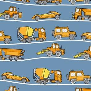 traffic jam - illustrated vehicles yellow-orange-blue