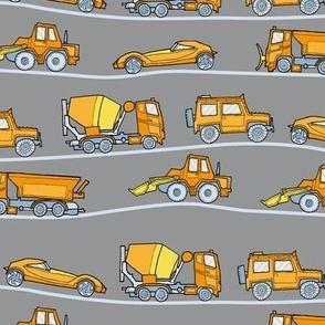traffic jam - illustrated vehicles gray-yellow-orange