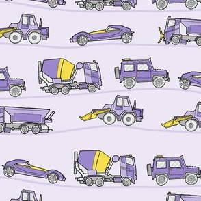 traffic jam - illustrated vehicles lilac