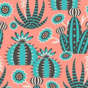 Desert Garden - Graphic Geometric Shapes with Cactus Flowers and Aloe - LARGE SCALE - UnBlink Studio by Jackie Tahara