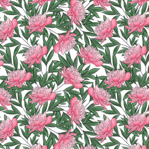 """12"""" Peony Watercolor Floral Pattern_Pink"""