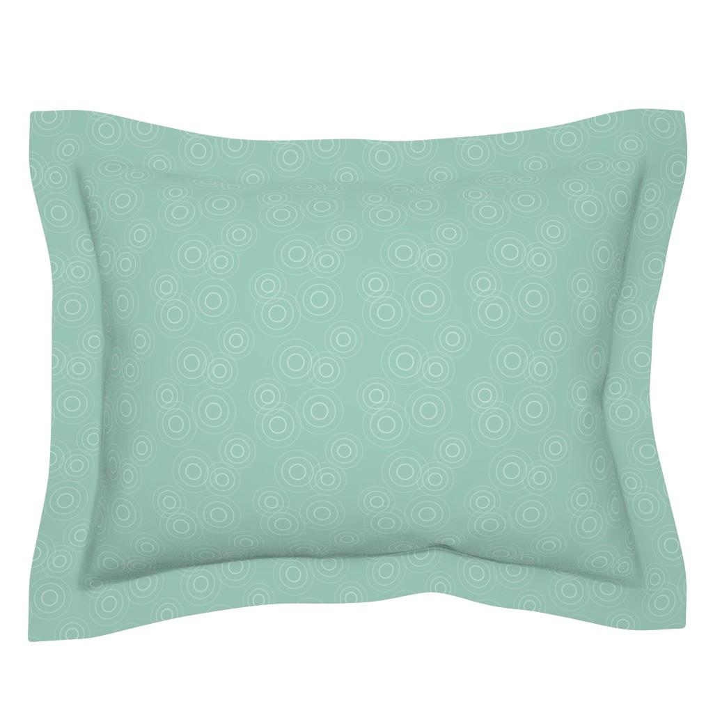 Sebright Pillow Sham featuring Water Rings, seafoam gr by cindylindgren