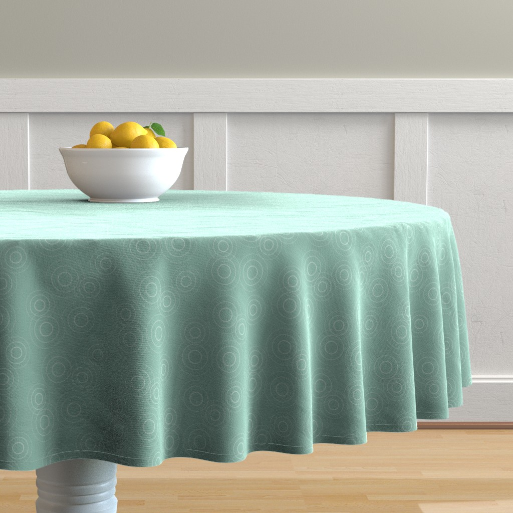Malay Round Tablecloth featuring Water Rings, seafoam gr by cindylindgren