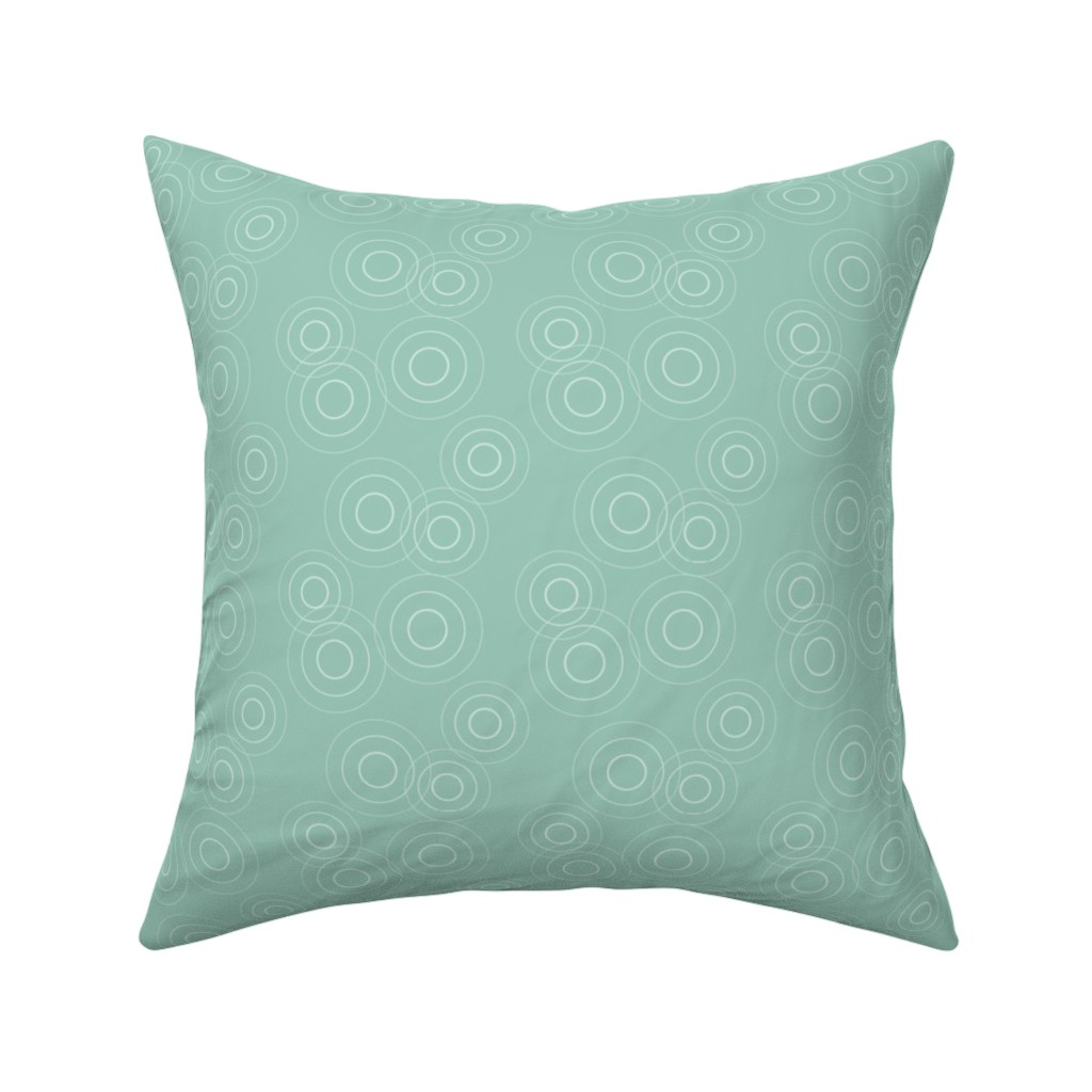Catalan Throw Pillow featuring Water Rings, seafoam gr by cindylindgren