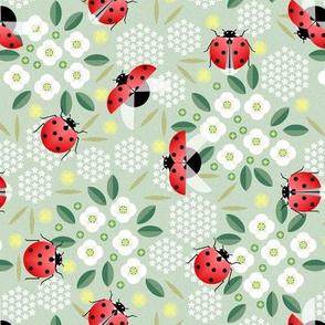 ladybugs and flowers light