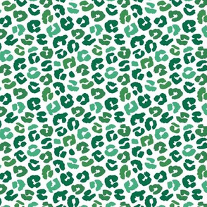 Little St Patrick's Day leopard design messy animal print boho nursery trend green on white