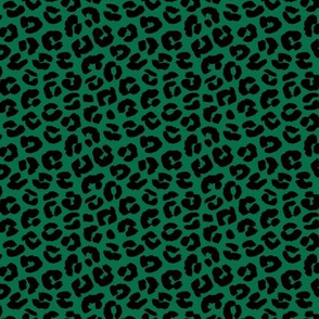 Little St Patrick's Day leopard design messy animal print boho nursery trend black on green