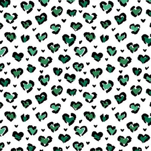Little St Patrick's Day hearts leopard design messy animal print boho nursery trend green on white
