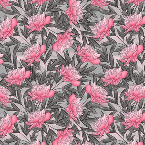 Peony Watercolor Floral Pattern_Gray