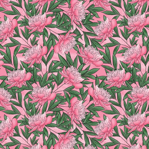 Peony Watercolor Floral Pattern_Med Pink