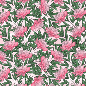 Peony Watercolor Floral Pattern_Lt Pink