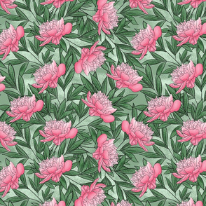 Peony Watercolor Floral Pattern_Sage
