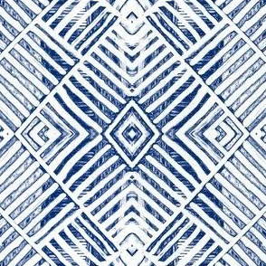 Tribal Patchwork - Blue and White