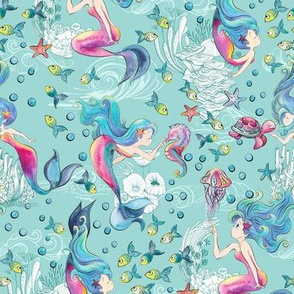 Modern Mermaid Toile on Sea Blue
